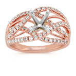 Crisscross Diamond Ring in 14k Rose Gold