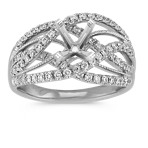 Crisscross Diamond Ring in 14k White Gold