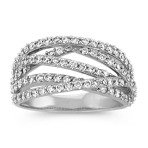 Crisscross Diamond Ring with Pavé Setting
