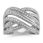 Crossing Wave Diamond Ring in 14k White Gold