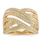 Crossing Wave Diamond Ring in 14k Yellow Gold
