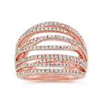 Crossover Diamond Ring with Pavé-Setting in 14k Rose Gold