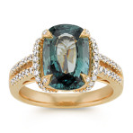Cushion Cut Blue Green Sapphire and Diamond Ring