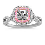 Cushion Cut Halo Round Diamond and Pink Sapphire Infinity Engagement Ring