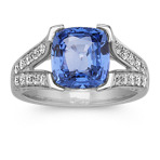 Cushion Cut Kentucky Blue Sapphire and Diamond Cathedral Ring