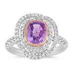 Cushion Cut Lavender Sapphire and Round Diamond Ring in White and Rose Gold