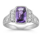Cushion Cut Lavender Sapphire and Round Diamond Ring with Engraving