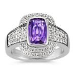 Cushion Cut Lavender Sapphire and Round Diamond Ring