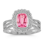 Cushion Cut Pink Sapphire and Round Diamond Ring