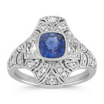 Cushion Cut Traditional Sapphire, Trapezoid and Round Diamond Ring