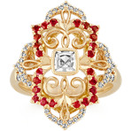 Cushion Cut White Sapphire, Round Ruby and Round Diamond Ring