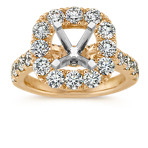 Cushion Halo Engagement Ring with Round Diamond Accent in 14k Yellow Gold