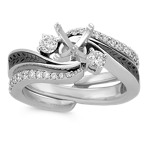 Diamond and Black Rhodium Wedding Set with Pavé Setting