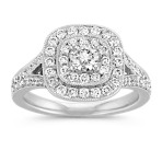Diamond Cluster Split Shank Ring with Pavé-Setting