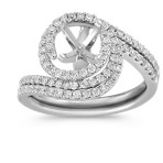 Diamond Spiral Wedding Set with Pavé Setting