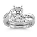 Diamond Swirl Wedding Set in Platinum with Channel-Setting