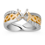 Diamond Two-Tone Wedding Set with Pavé Setting