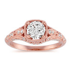 Diamond Vintage Engagement Ring with Milgrain Detailing in 14k Rose Gold