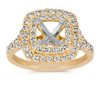 Double Cushion Halo Diamond Engagement Ring in 14k Yellow Gold