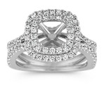 Double Cushion Halo Round Diamond Split Shank Engagement Ring