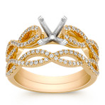 Double Infinity Diamond Wedding Set in 18k Yellow Gold
