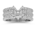 Double Row Princess Cut and Round Diamond Engagement Ring