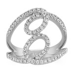 Double Swirl Diamond Fashion Ring