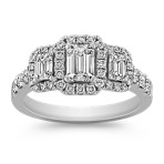 Emerald Cut and Round Diamond Halo Three Stone Ring