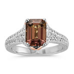 Emerald Cut Cognac Sapphire, Calla Cut Diamond and Round Diamond Ring