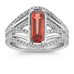 Emerald Cut Fire Sapphire and Diamond Ring