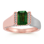 Emerald Cut Green Sapphire and Round Diamond 14k Rose and White Gold Ring