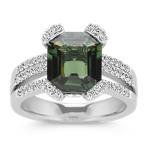 Emerald Cut Green Sapphire and Round Diamond Fashion Ring