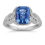 Emerald Cut Kentucky Blue Sapphire and Diamond Ring