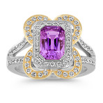 Emerald Cut Lavender Sapphire and Diamond Ring in White and Yellow Gold