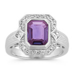 Emerald Cut Lavender Sapphire, Princess Cut and Round Diamond Ring