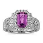 Emerald Cut Lavender Sapphire, Round and Princess Cut Diamond Ring