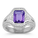 Emerald Cut Lavender Sapphire, Trillion and Round Diamond Ring