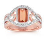 Emerald Cut Peach Sapphire and Round Diamond Ring in Two-Tone Gold