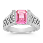 Emerald Cut Pink Sapphire and Diamond Criss-Cross Ring
