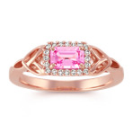 Emerald Cut Pink Sapphire and Diamond Halo Ring in 14k Rose Gold