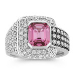 Emerald Cut Pink Sapphire and Diamond Ring with Black Rhodium