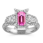 Emerald Cut Raspberry Sapphire, Shield-Shaped and Round Diamond Ring