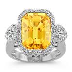 Emerald Cut Yellow Sapphire, Calla Cut and Round Diamond Ring