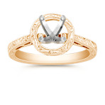 Engraved Round Halo Engagement Ring in 14k Yellow Gold