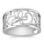 Engraved Sterling Silver Butterfly Ring with Brushed Finish