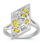 Fancy Shape Yellow Sapphire and Fancy Shape Diamond Ring