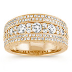 Five Row Diamond Ring with Engraved and Milgrain Detailing in Yellow Gold