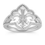Fleur De Lis Ring with Diamond Accent