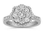 Floral Cluster Round Diamond Ring