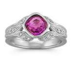 Flush-Set Cushion Cut Pink Sapphire and Pavé-Set Round Diamond Ring